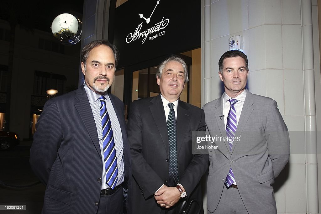 Frank Furlan President Swatch Group U.S , Breguet's Vice-President of Sales, Rodolphe M. Schulthess and Mike Nelson brand Manager Breguet U.S attend 'Breguet The Innovator. Inventor Of The Tourbillion' Global traveling exhibition at Breguet Boutique on October 3, 2013 in Beverly Hills, California.