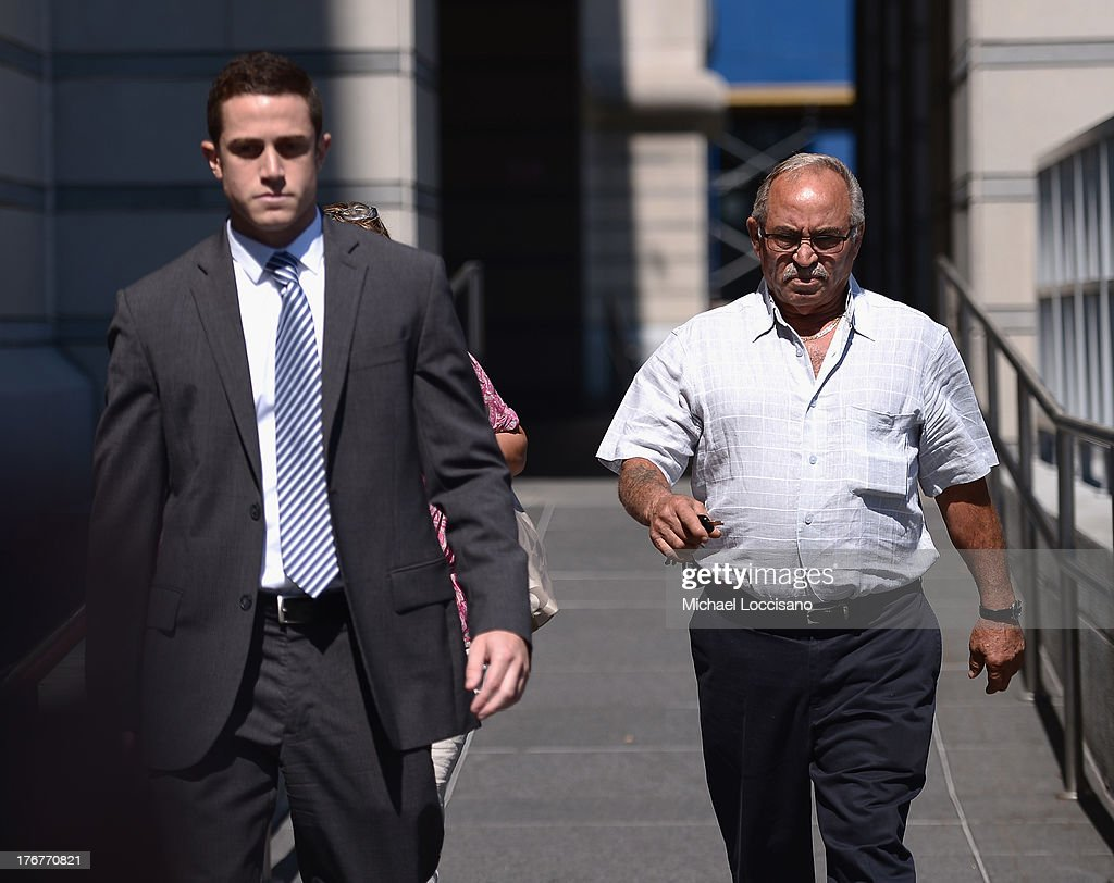 Frank Giudice (R) appears in court to support his son Joe Giudice and wife Teresa Giudice who face charges of defrauding lenders, illegally obtaining mortgages and other loans as well as allegedly hiding assets and income during a bankruptcy case on July 30, 2013 in Newark, United States.