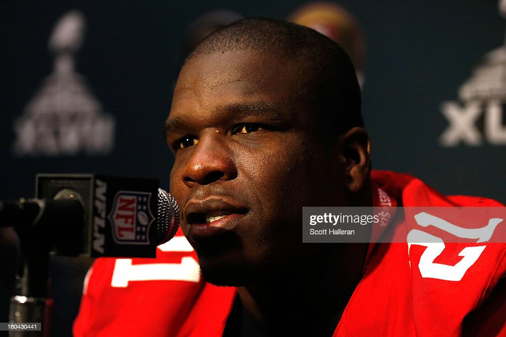 <a gi-track='captionPersonalityLinkClicked' href=/galleries/search?phrase=Frank+Gore&family=editorial&specificpeople=233698 ng-click='$event.stopPropagation()'>Frank Gore</a> #21 of the San Francisco 49ers addresses the media during Super Bowl XLVII Media Availability at the New Orleans Marriott on January 31, 2013 in New Orleans, Louisiana. The 49ers will take on the Baltimore Ravens on February 3, 2013 at the Mercedes-Benz Superdome.