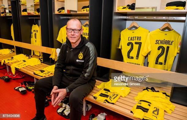 Frank Graefen kit manager of Borussia Dortmund prepares the changing room prior to the Bundesliga match between VfB Stuttgart and Borussia Dortmund...