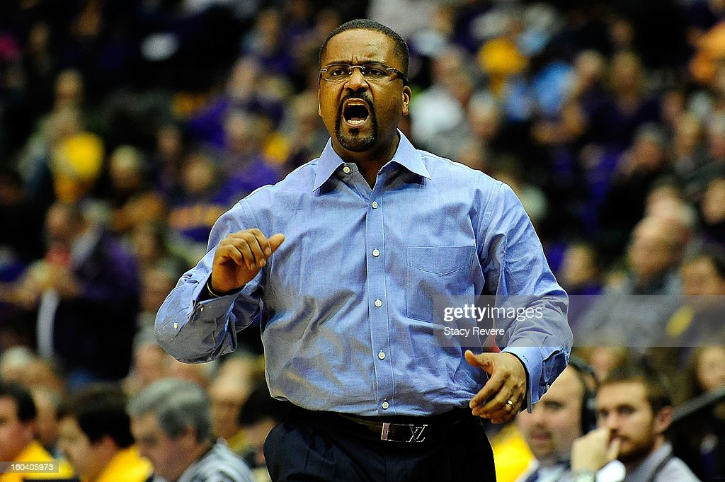 Frank Haith, head coach of the Missouri Tigers, reacts to an official's call during a game against the LSU Tigers at the Pete Maravich Assembly Center on January 30, 2013 in Baton Rouge, Louisiana. LSU won the game 73-70.