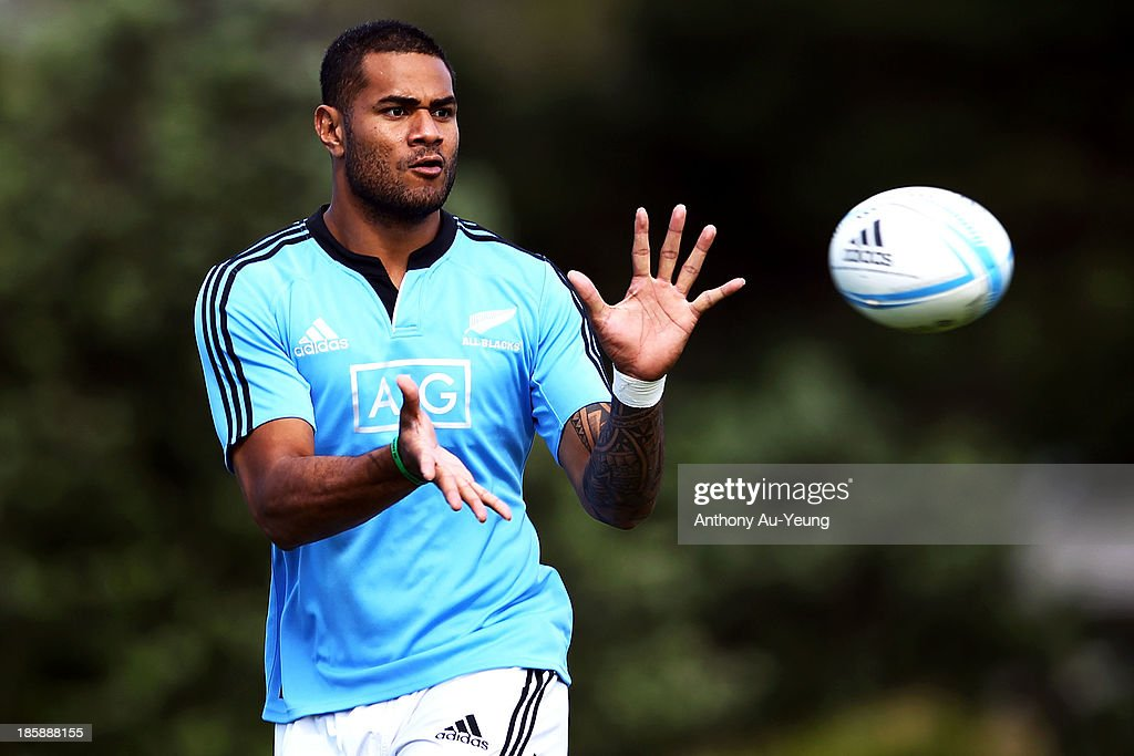 Frank Halai of the All Blacks passes during a New Zealand All Blacks training session at Waitakere Stadium on October 26, 2013 in Auckland, New Zealand.