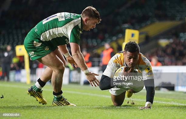 Frank Halai of Wasps dives over for the first try during the Aviva Premiership match between London Irish and Wasps at Twickenham Stadium on November...