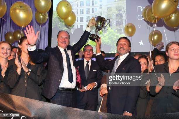 Frank Heller Managing Director Hotel 'The Charles' and Sir Rocco Forte with award during the 2oth 'Busche Gala' at The Charles Hotel on October 16...