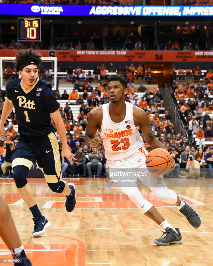Frank Howard #23 of the Syracuse Orange drives to the basket during the second half of play between the Syracuse Orange and the Pittsburgh Panthers on January 16th, 2018 at the Carrier Dome in Syracuse, NY.