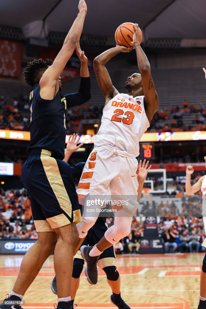 Frank Howard #23 of the Syracuse Orange shoots the ball during the second half of play between the Syracuse Orange and the Pittsburgh Panthers on January 16th, 2018 at the Carrier Dome in Syracuse, NY.