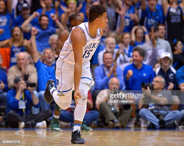 Frank Jackson of the Duke Blue Devils reacts after making a threepoint basket against the Michigan State Spartans during the game at Cameron Indoor...