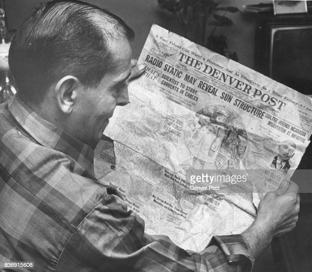 Frank John Canino 3920 Jay St Wheat Ridge Looks Over Page Of 1926 Denver Post Paper which he found by pure chance contains obituary notice of...