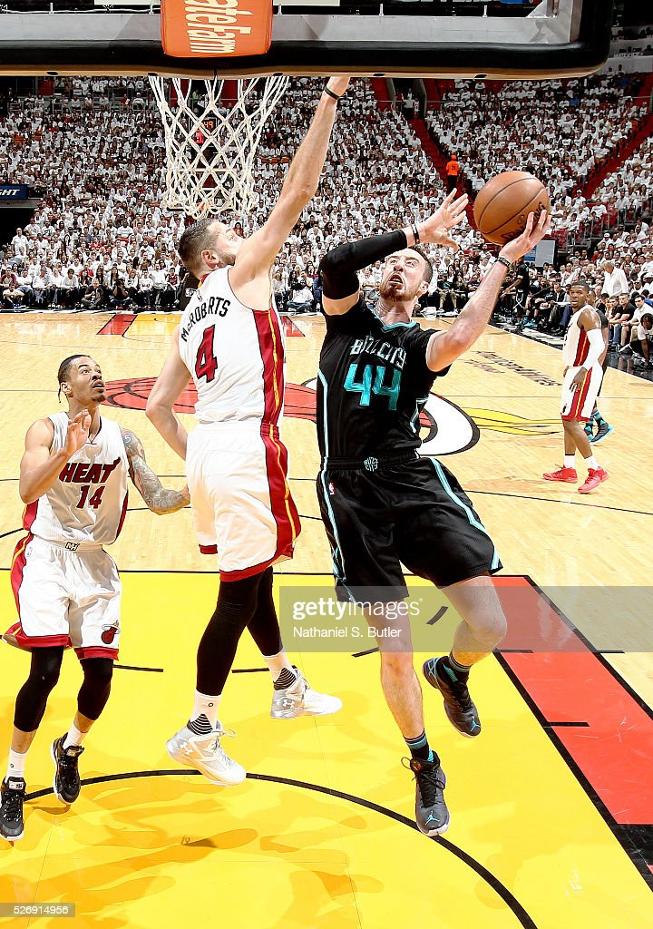 Frank Kaminsky III #44 of the Charlotte Hornets shoots the ball against the Miami Heat in Game Seven of the Eastern Conference Quarterfinals during the 2016 NBA Playoffs on May 1, 2016 at American Airlines Arena in Miami, Florida.