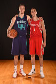 Frank Kaminsky of the Charlotte Hornets and Sam Dekker of the Houston Rockets poses for a portrait during the 2015 NBA rookie photo shoot on August 8...