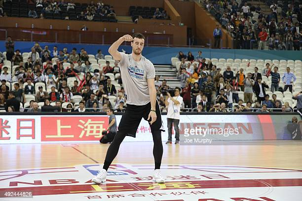 Frank Kaminsky of the Charlotte Hornets dances during Fan Appreciation Day as part of the 2015 NBA Global Games China at the Oriental Sports Center...