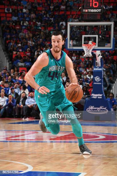 Frank Kaminsky of the Charlotte Hornets handles the ball against the Detroit Pistons on October 18 2017 at Little Caesars Arena in Detroit Michigan...