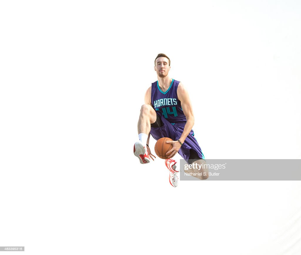 Frank Kaminsky of the Charlotte Hornets poses for a portrait during the 2015 NBA rookie photo shoot on August 8 2015 at the Madison Square Garden...
