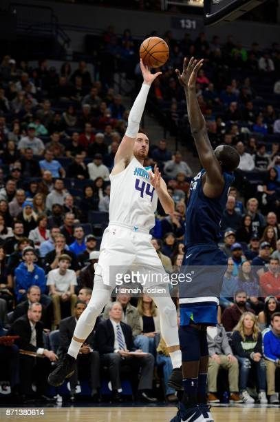 Frank Kaminsky of the Charlotte Hornets shoots the ball against Gorgui Dieng of the Minnesota Timberwolves during the game on November 5 2017 at the...