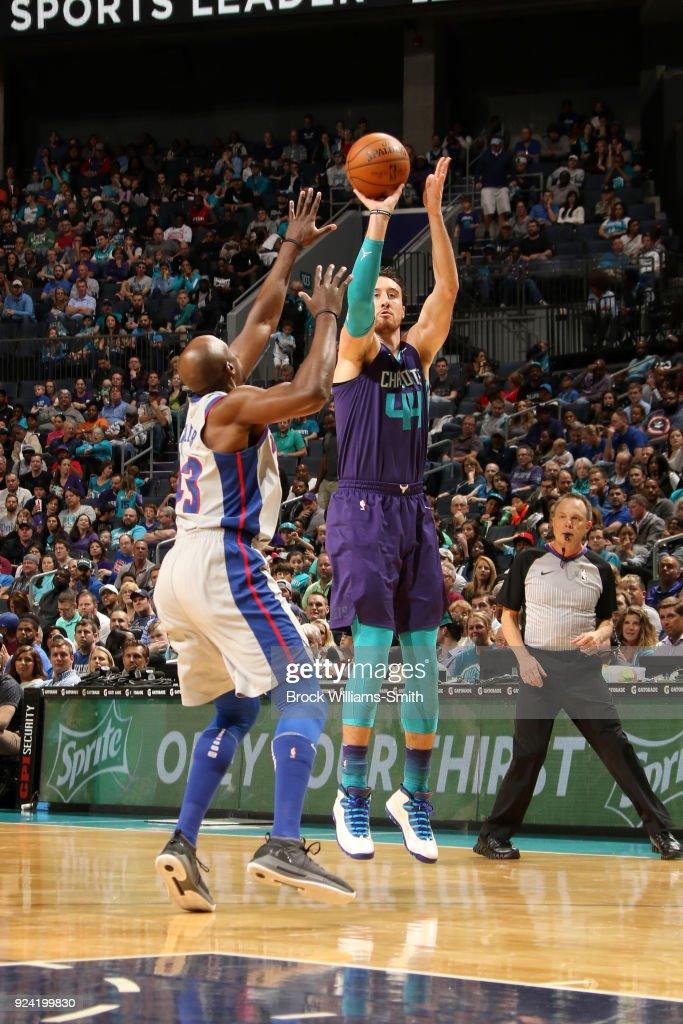 Frank Kaminsky #44 of the Charlotte Hornets shoots the ball against the Detroit Pistons on February 25, 2018 at Spectrum Center in Charlotte, North Carolina.