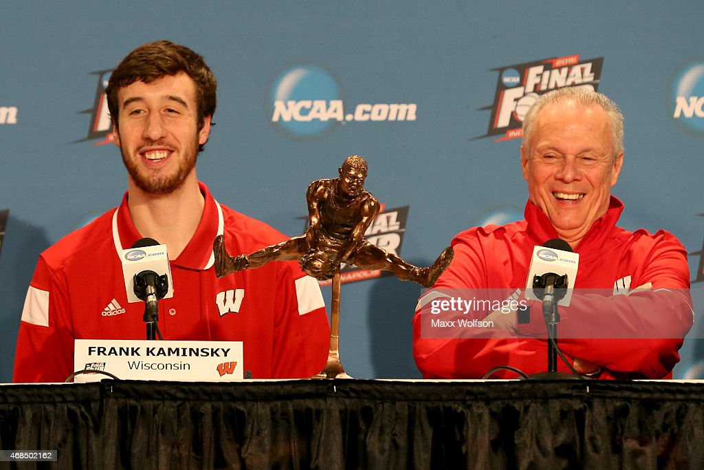 <a gi-track='captionPersonalityLinkClicked' href=/galleries/search?phrase=Frank+Kaminsky&family=editorial&specificpeople=8685398 ng-click='$event.stopPropagation()'>Frank Kaminsky</a> of the Wisconsin Badgers and his head coach <a gi-track='captionPersonalityLinkClicked' href=/galleries/search?phrase=Bo+Ryan&family=editorial&specificpeople=198945 ng-click='$event.stopPropagation()'>Bo Ryan</a> address the media after Kaminsky wins the Oscar Robertson National Player of the Year Award given by the USBWA leading up to the 2015 Final Four at Lucas Oil Stadium on April 3, 2015 in Indianapolis, Indiana.