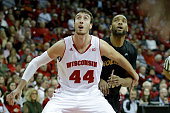 Frank Kaminsky of the Wisconsin Badgers boxes out for the rebound during the first half of play against the Northern Kentucky Norse at Kohl Center on...