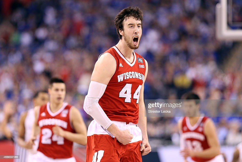 <a gi-track='captionPersonalityLinkClicked' href=/galleries/search?phrase=Frank+Kaminsky&family=editorial&specificpeople=8685398 ng-click='$event.stopPropagation()'>Frank Kaminsky</a> #44 of the Wisconsin Badgers celebrates after a play in the first half against the Kentucky Wildcats during the NCAA Men's Final Four Semifinal at Lucas Oil Stadium on April 4, 2015 in Indianapolis, Indiana.
