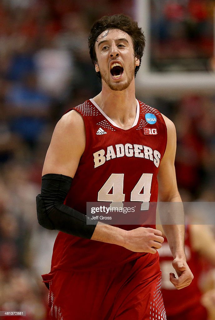 <a gi-track='captionPersonalityLinkClicked' href=/galleries/search?phrase=Frank+Kaminsky&family=editorial&specificpeople=8685398 ng-click='$event.stopPropagation()'>Frank Kaminsky</a> #44 of the Wisconsin Badgers celebrates after making a three-pointer in the second half while taking on the Arizona Wildcats during the West Regional Final of the 2014 NCAA Men's Basketball Tournament at the Honda Center on March 29, 2014 in Anaheim, California.