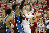 Frank Kaminsky of the Wisconsin Badgers looks to pass the basketball during the game against the Duke Blue Devils at Kohl Center on December 03 2014...