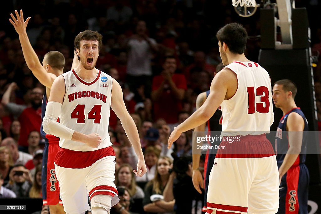 <a gi-track='captionPersonalityLinkClicked' href=/galleries/search?phrase=Frank+Kaminsky&family=editorial&specificpeople=8685398 ng-click='$event.stopPropagation()'>Frank Kaminsky</a> #44 of the Wisconsin Badgers reacts in the second half while taking on the Arizona Wildcats during the West Regional Final of the 2015 NCAA Men's Basketball Tournament at Staples Center on March 28, 2015 in Los Angeles, California.