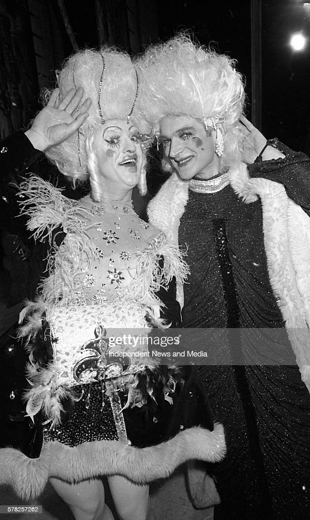 Frank Kelly and Des Keogh pictured after the final curtain fell on the Cinderella Pantomime in the Olympia Theatre in Dublin