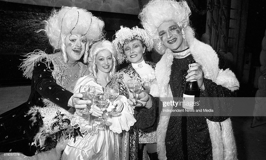 Frank Kelly Julie Blunden Twink and Des Keogh after the fnal curtain fell on Cinderella Pantomime in The Olympia Theatre in Dublin