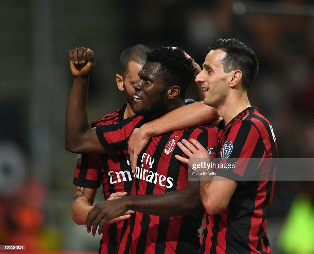 Frank Kessié of AC Milan celebrates after scoring the second goal during the Serie A match between AC Milan and Spal at Stadio Giuseppe Meazza on September 20, 2017 in Milan, Italy.