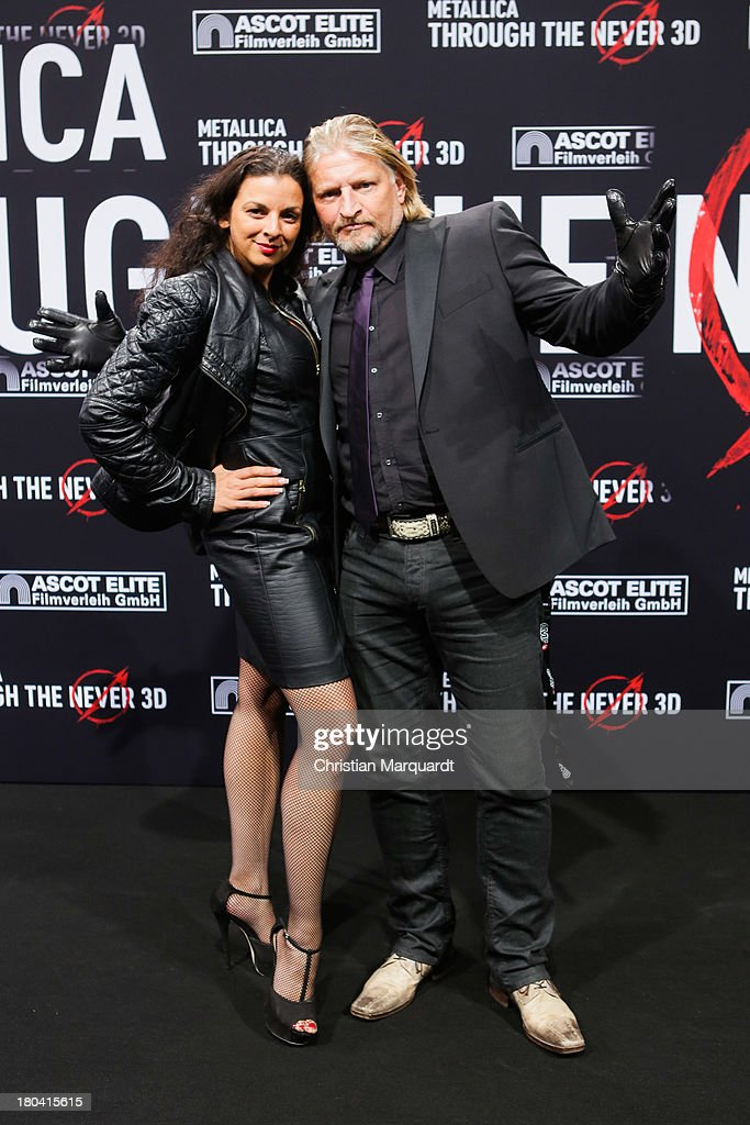 Frank Kessler (R) and Leila Kessler attend the German premiere of 'Metallica - Through The Never' on on September 12, 2013 in Berlin, Germany.