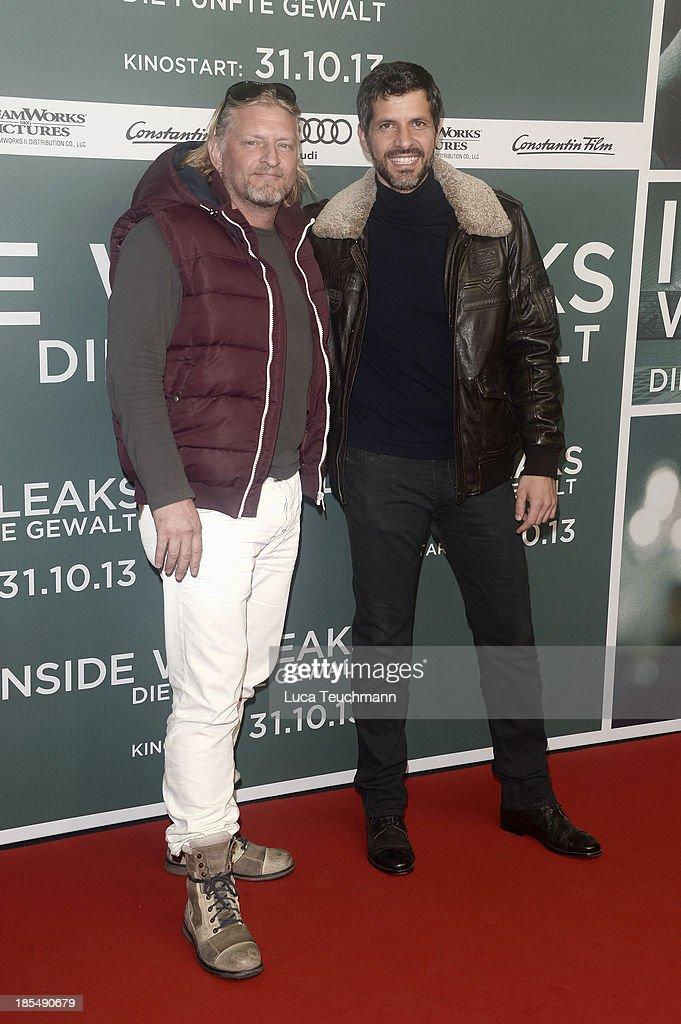Frank Kessler and Pasquale Aleardi attend the 'Inside Wikileaks' Germany Premiere at Kulturbrauerei on October 21, 2013 in Berlin, Germany.