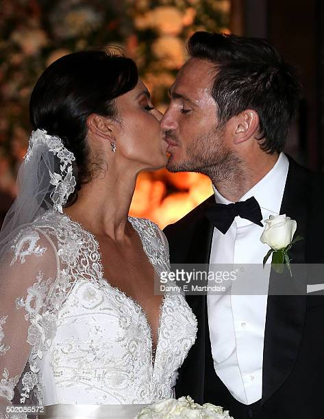 Frank Lampard and Christine Bleakley kiss leave after getting married on December 20 2015 in London England