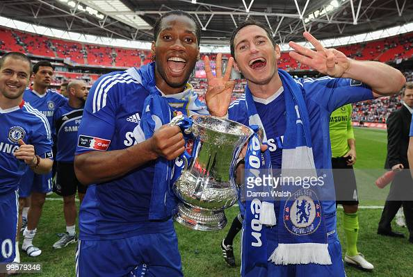 Frank Lampard and Didier Drogba of Chelsea celebrate after winning the FA Cup sponsored by EON Final match between Chelsea and Portsmouth at Wembley...