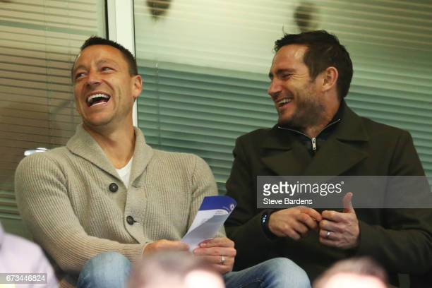 Frank Lampard and John Terry are seen during the FA Youth Cup Final second leg between Chelsea and Mancherster City at Stamford Bridge on April 26...