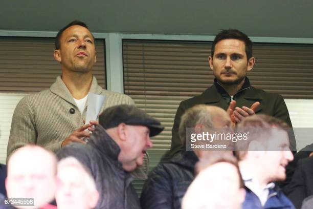 Frank Lampard and John Terry are seen in the stand during the FA Youth Cup Final second leg between Chelsea and Mancherster City at Stamford Bridge...