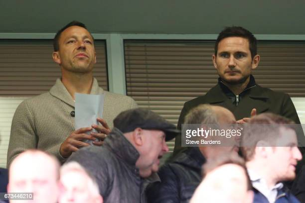 Frank Lampard and John Terry look on during the FA Youth Cup Final second leg between Chelsea and Mancherster City at Stamford Bridge on April 26...