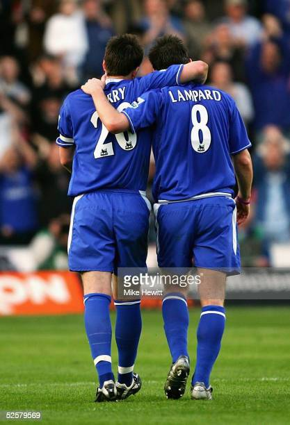 Frank Lampard and John Terry of Chelsea celebrate after the Barclays Premiership match between Southampton and Chelsea on April 2 2005 at the St...