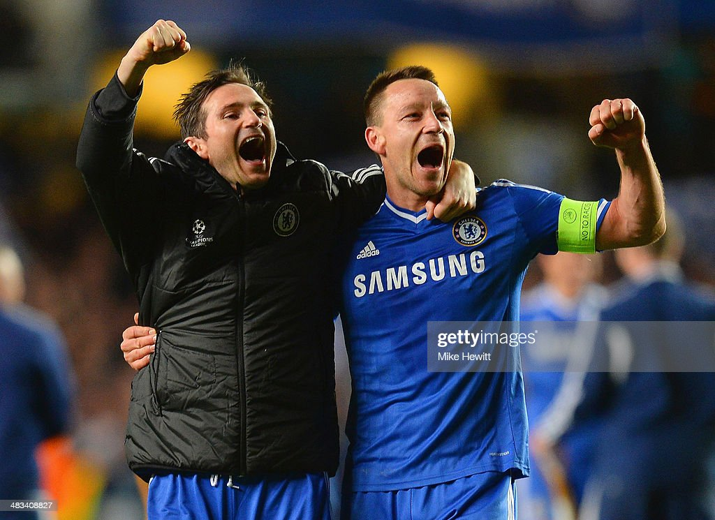 Frank Lampard and John Terry of Chelsea celebrate victory during the UEFA Champions League Quarter Final second leg match between Chelsea and Paris Saint-Germain FC at Stamford Bridge on April 8, 2014 in London, England.