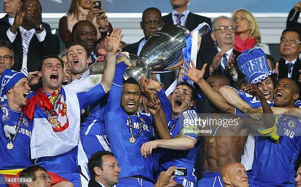 Frank Lampard and Jose Bosingwa of Chelsea hold the trophy in celebration after their victory in the UEFA Champions League Final between FC Bayern...