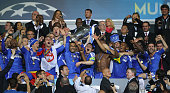 Frank Lampard and Jose Bosingwa of Chelsea lift the trophy in celebration after their victory in the UEFA Champions League Final between FC Bayern...