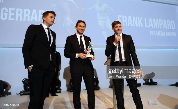 Frank Lampard and Steven Gerrard on stage with host Jake Humphrey after receiving the PFA Merit Award during the 2015 PFA Player of the Year Awards