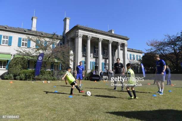 Frank Lampard and the Chelsea Foundation at the British Embassy in Tokyo Chelsea Foundation Coaching session on November 8 2017 in Tokyo Japan