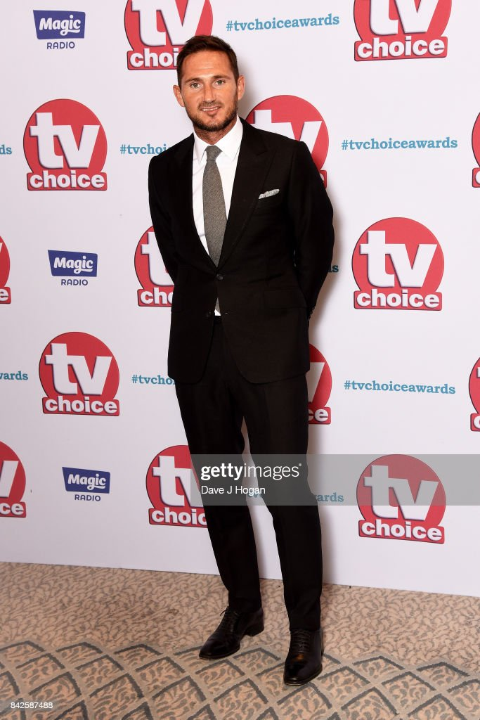 Frank Lampard arrives at the TV Choice Awards at The Dorchester on September 4, 2017 in London, England.