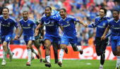 Frank Lampard Ashley Cole Didier Drogba Florent Malouda Paulo Ferreira and Daniel Sturridge of Chelsea celebrate at the end of the FA Cup sponsored...