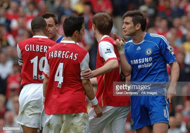 Frank Lampard Chelsea and Francesc Fabregas Arsenal have words with each other