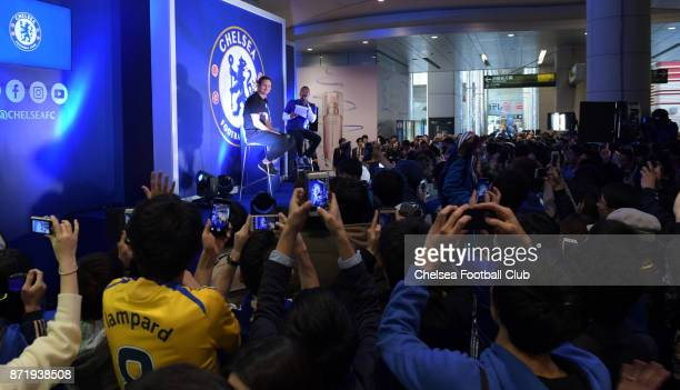 Frank Lampard gets a very warm welcome from Japanese fans at the Shiodome Shopping complex on November 8 2017 in Tokyo Japan