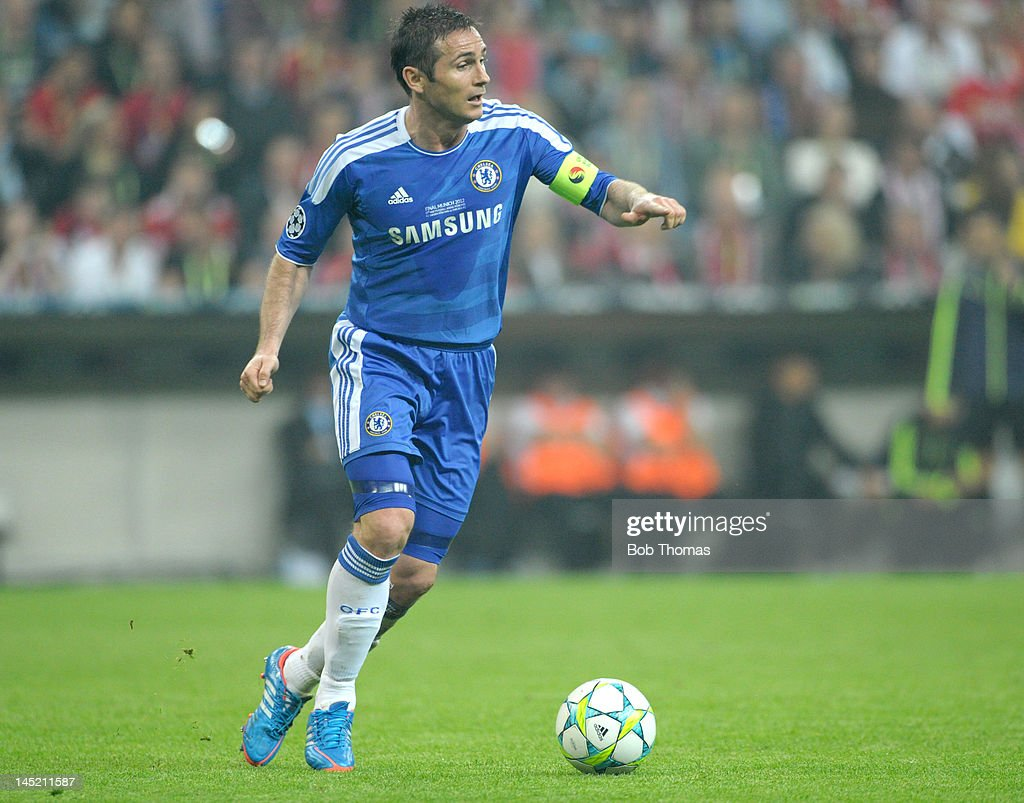 Frank Lampard in action for Chelsea during the UEFA Champions League Final between FC Bayern Munich and Chelsea at the Fussball Arena Munich on May 19, 2012 in Munich, Germany. The match ended 1-1 after extra time, Chelsea won 4-3 on penalties.