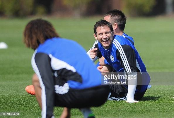 Frank Lampard laughs during a training session at Cobham training ground on May 1 2013 in Cobham England