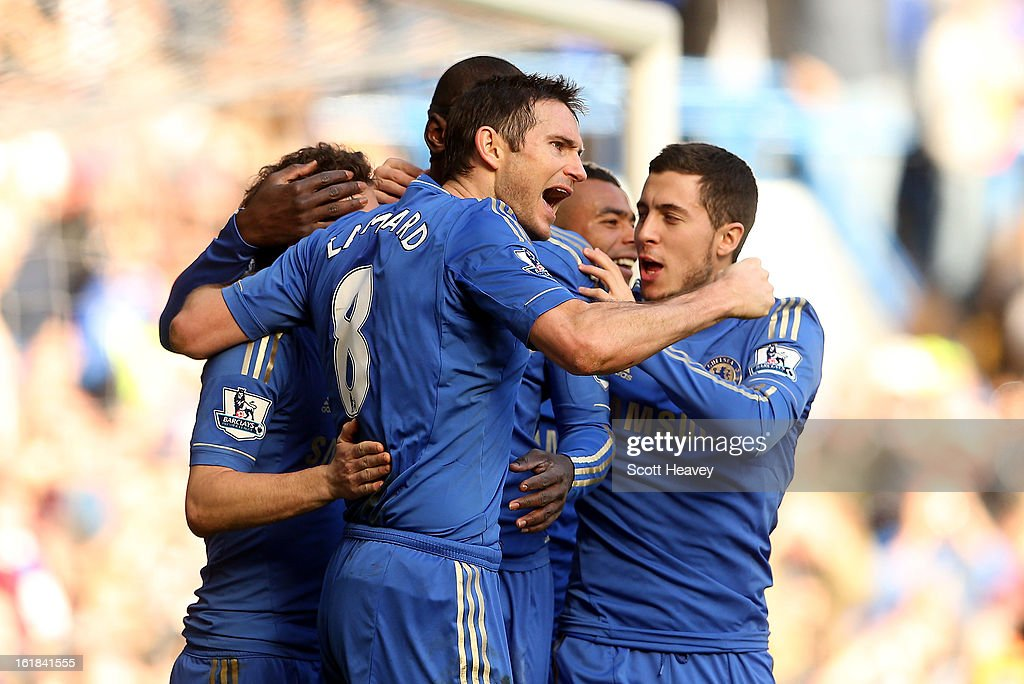 Frank Lampard of Chelsea celebrates after scoring their third goal during the FA Cup Fourth Round Replay between Chelsea and Brentford at Stamford Bridge on February 17, 2013 in London, England.