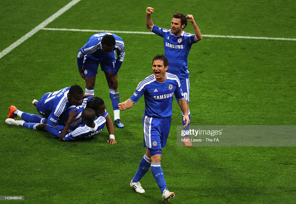 Frank Lampard of Chelsea celebrates after team mate Ramires scores the third goal during the FA Cup with Budweiser Semi Final match between Tottenham Hotspur and Chelsea at Wembley Stadium on April 15, 2012 in London, England.