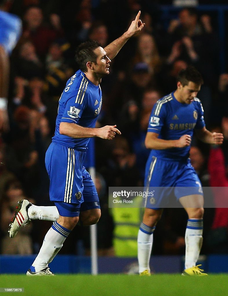 Frank Lampard of Chelsea celebrates as he scores their fourth on his 500th Premier League start during the Barclays Premier League match between Chelsea and Aston Villa at Stamford Bridge on December 23, 2012 in London, England.